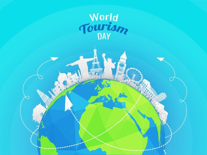 La carta ha tagliato i monumenti famosi di stile del mondo con il globo della terra su SH royalty illustrazione gratis