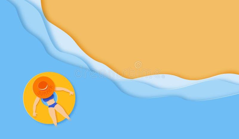 La carta ha tagliato il mare con la ragazza sul fondo dell'anello di gomma royalty illustrazione gratis