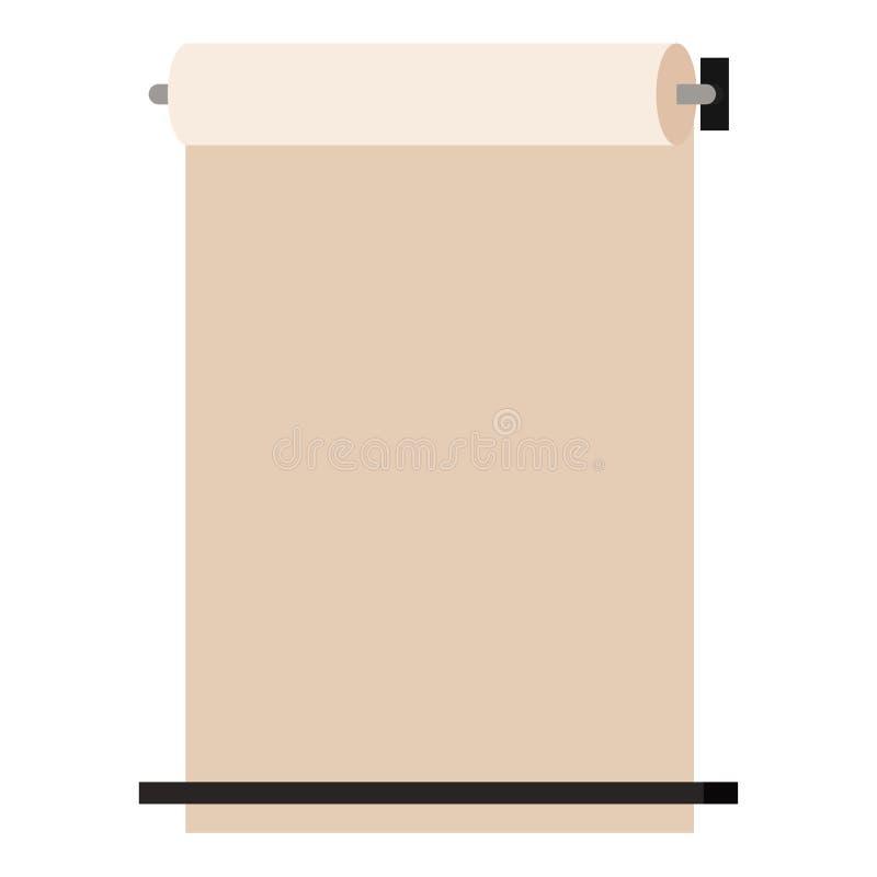 La carta kraft fissata al muro rotola sull'erogatore isolato su fondo bianco, stile piano del fumetto dell'insegna del modello de illustrazione vettoriale