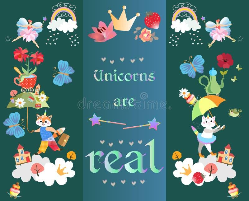 """La carta orizzontale con testo """"unicorni è reale """" Piccolo volpe e gattino con i corni, ombrelli magici, costruzioni, nuvole, arc royalty illustrazione gratis"""