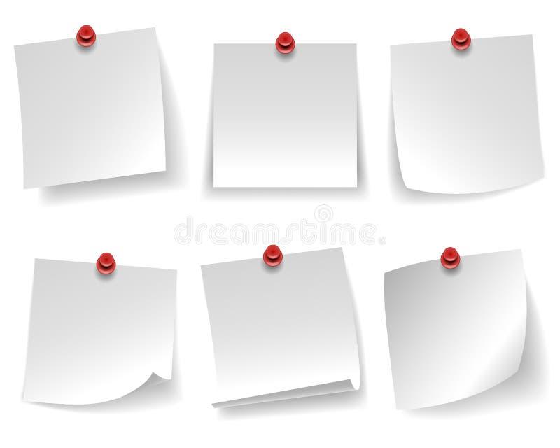 La carta per appunti bianca vuota appuntata ha arricciato il messaggio rosso del pulsante dell'angolo isolato sull'illustrazione  illustrazione vettoriale