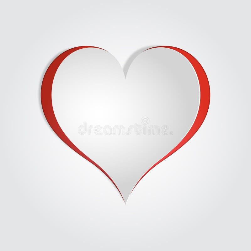 La carta realistica di vettore 3d ha tagliato il cuore, il modello della carta del biglietto di S. Valentino, derisione royalty illustrazione gratis