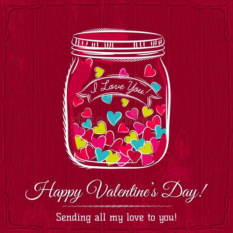 La carta rossa del biglietto di S. Valentino con il barattolo ha riempito di cuore illustrazione di stock