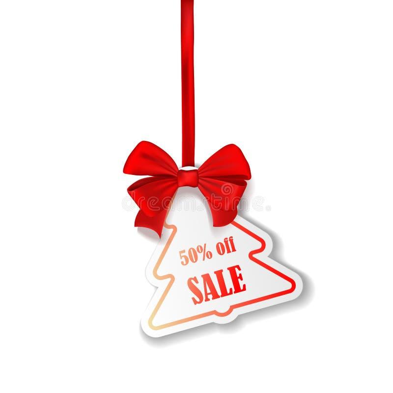 La carta rossa di vendita di Natale etichetta il vettore nel colore rosso che appende con il testo di sconto per la promozione di illustrazione vettoriale