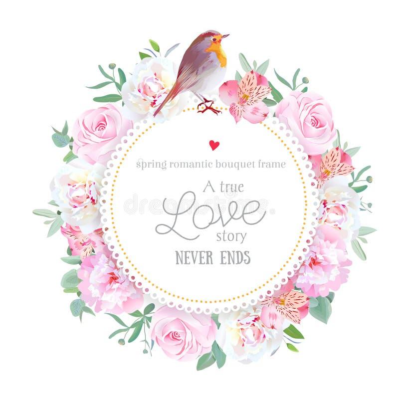 La carta rotonda di vettore floreale con la peonia bianca e rosa, è aumentato, giglio di alstroemeria, eucalyptus, piante miste e illustrazione vettoriale