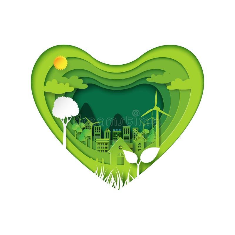 La carta scolpisce di cuore con il eco verde royalty illustrazione gratis