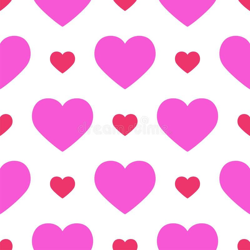 La carta senza cuciture di colore di rosa del fondo del modello di vettore tagliente rosso semplice del cuore bella celebra il si illustrazione vettoriale