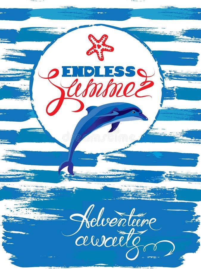 La carta stagionale con la struttura ed il delfino sul lerciume della pittura barrano il blu illustrazione vettoriale