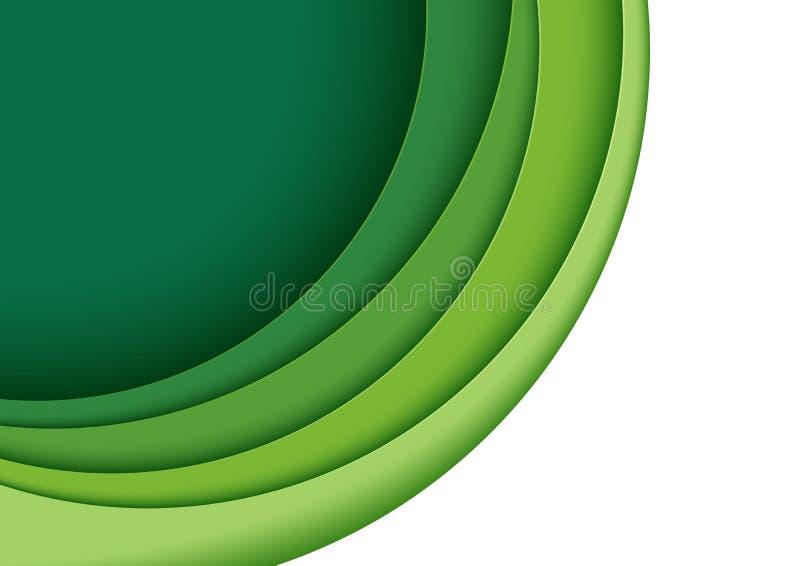 La carta verde di strato scolpisce illustrazione di stock
