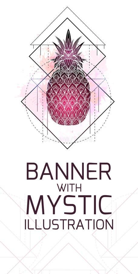 La carta verticale con l'illustrazione mistica di un ananas con un disegno di contorno, acquerello rosa spruzza r royalty illustrazione gratis