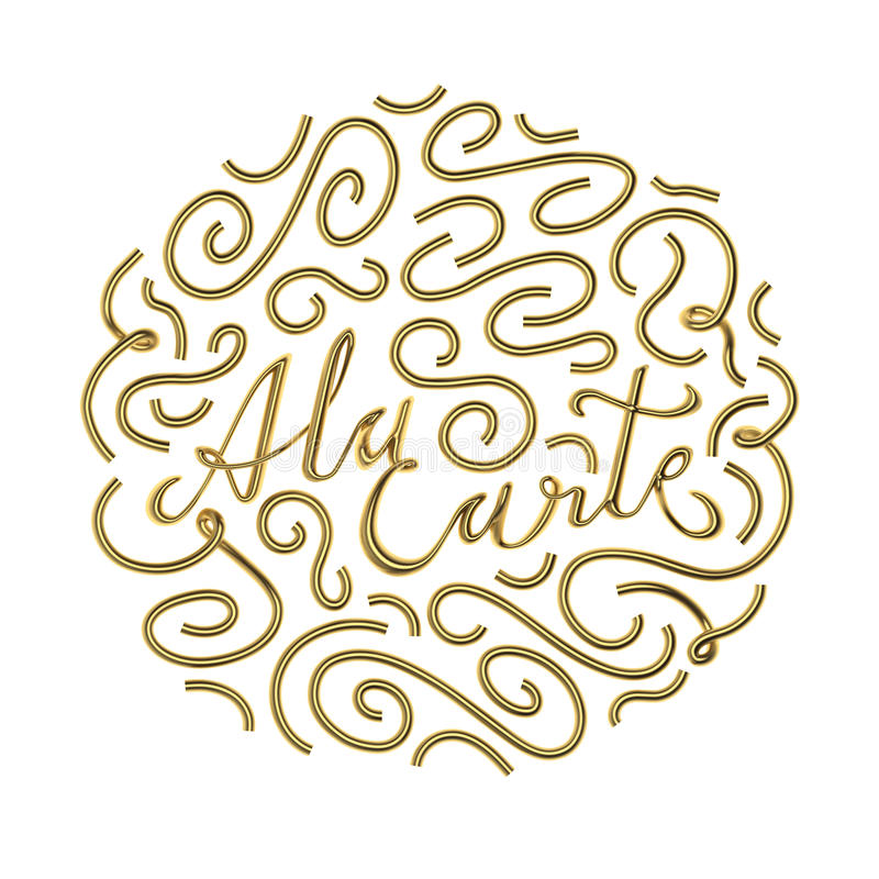 A la carte цитата типографская с переводом орнамента 3D иллюстрация штока