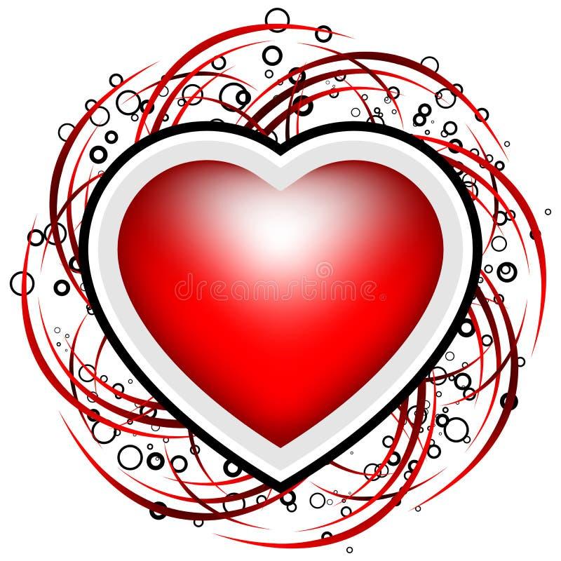 La carte abstraite de Valentine avec des défilements, les cercles et le coeur forment - illustration libre de droits