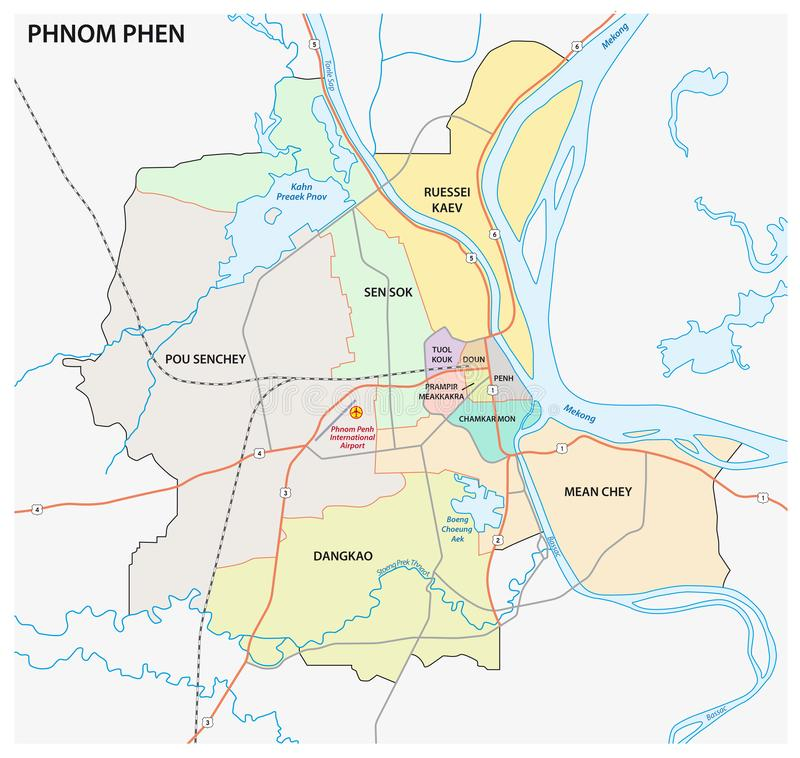 La carte administrative et de route du phnom capitale cambodgien phen illustration de vecteur