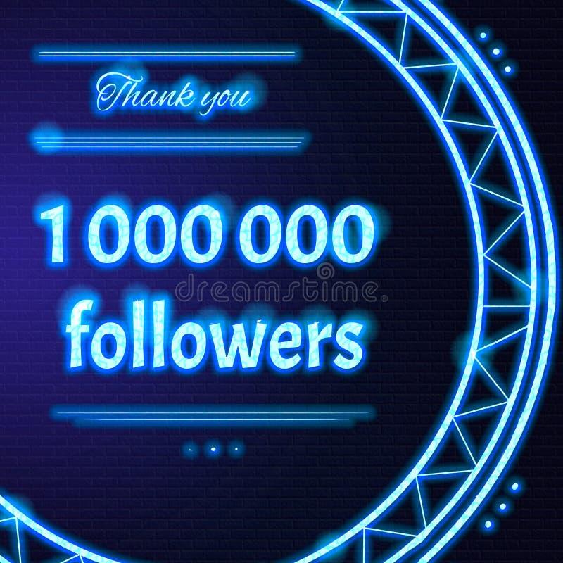 La carte avec le texte au néon bleu-clair vous remercient à un million de 1000000 illustration libre de droits