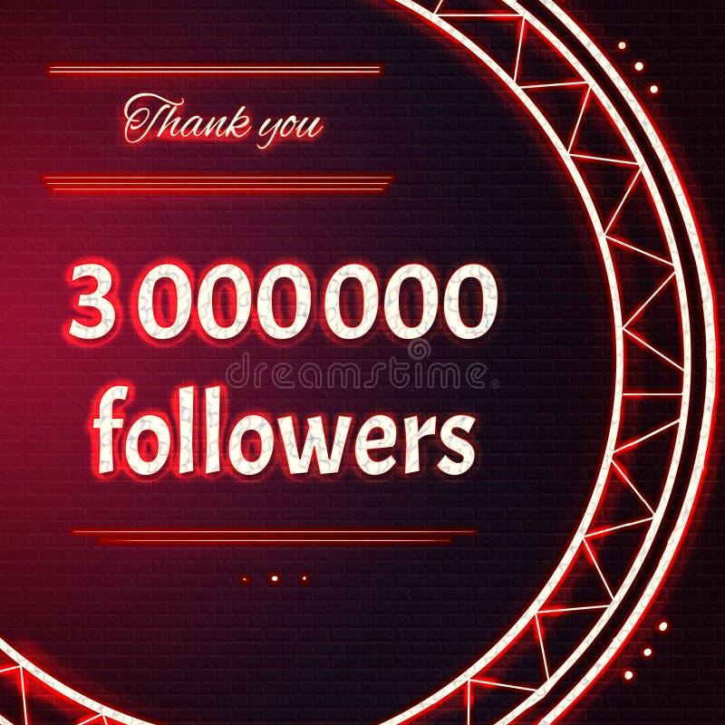 La carte avec le texte au néon rouge vous remercient trois millions 3000000 de followe illustration libre de droits