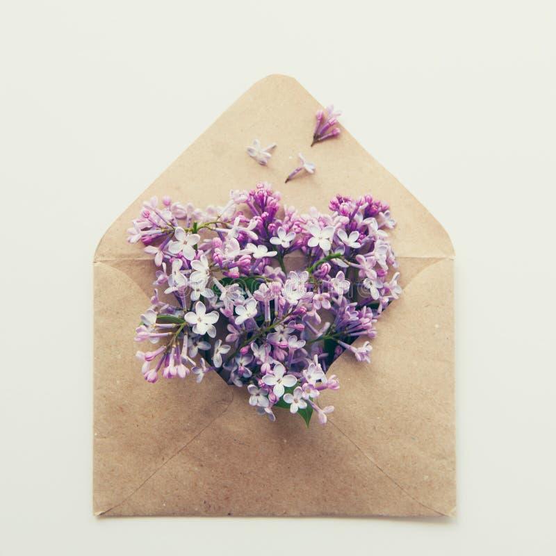 La carte carrée de vintage avec la fin a ouvert l'enveloppe de papier de métier remplie de fleurs lilas pourpres de fleur de ress images stock