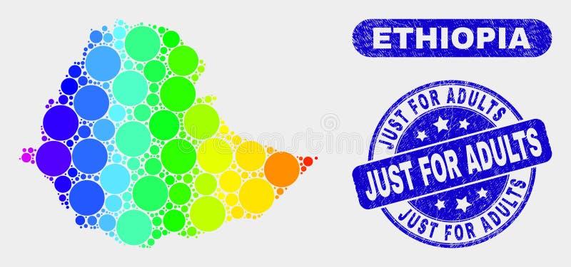 La carte colorée de l'Ethiopie de mosaïque et a rayé juste pour des adultes emboutissent le joint illustration libre de droits