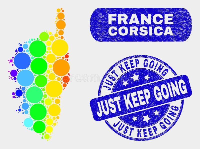 La carte colorée et la détresse de la Corse de mosaïque gardent juste le timbre allant illustration libre de droits