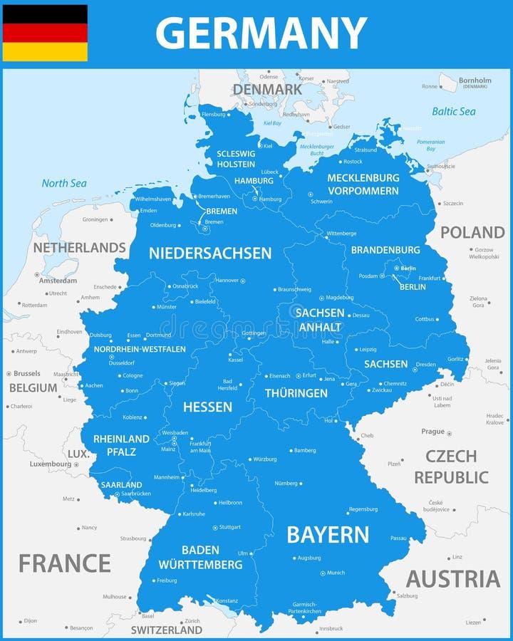 La Carte Detaillee De L Allemagne Avec Des Regions Ou Des Etats Et Des Villes Capitaux Illustration De Vecteur Illustration Du Etats Villes 105414696