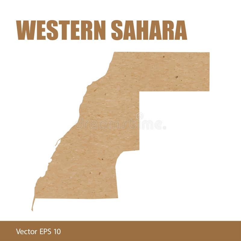 La carte détaillée de la Sahara occidental a coupé du papier de métier illustration stock