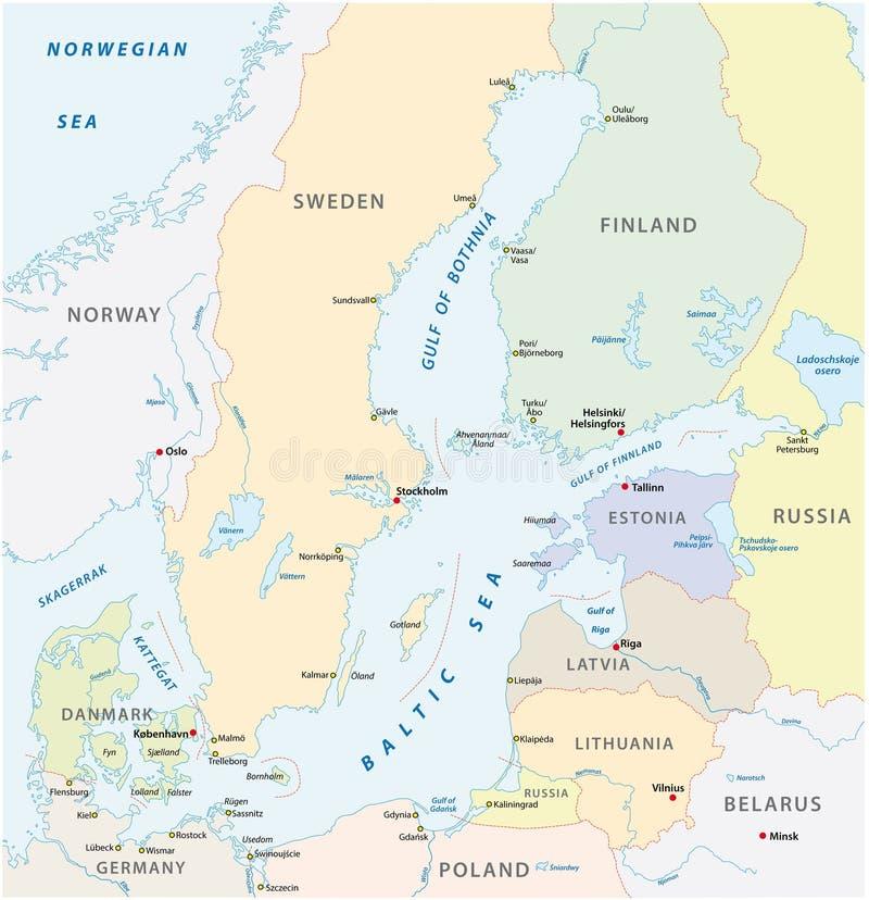 La carte détaillée de vecteur de secteur de mer baltique illustration de vecteur