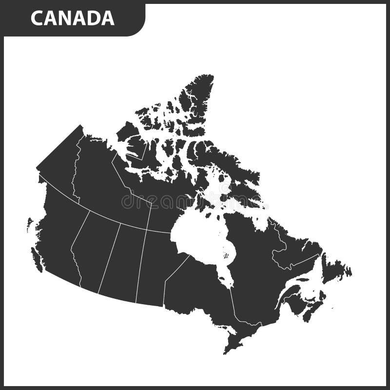 La carte détaillée du Canada avec des régions ou des états illustration libre de droits