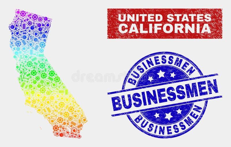 La carte d'état de la Californie de productivité de spectre et les hommes d'affaires rayés emboutissent des joints illustration de vecteur