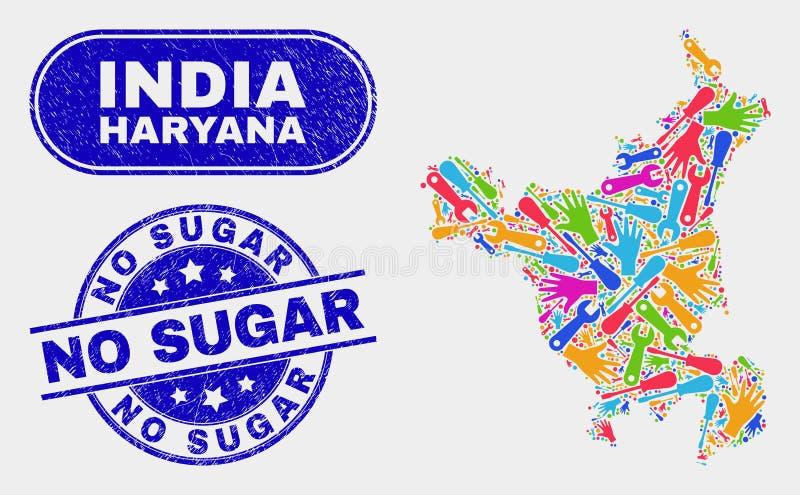 La carte d'état de Haryana de productivité et n'a rayé aucun Sugar Watermarks illustration de vecteur