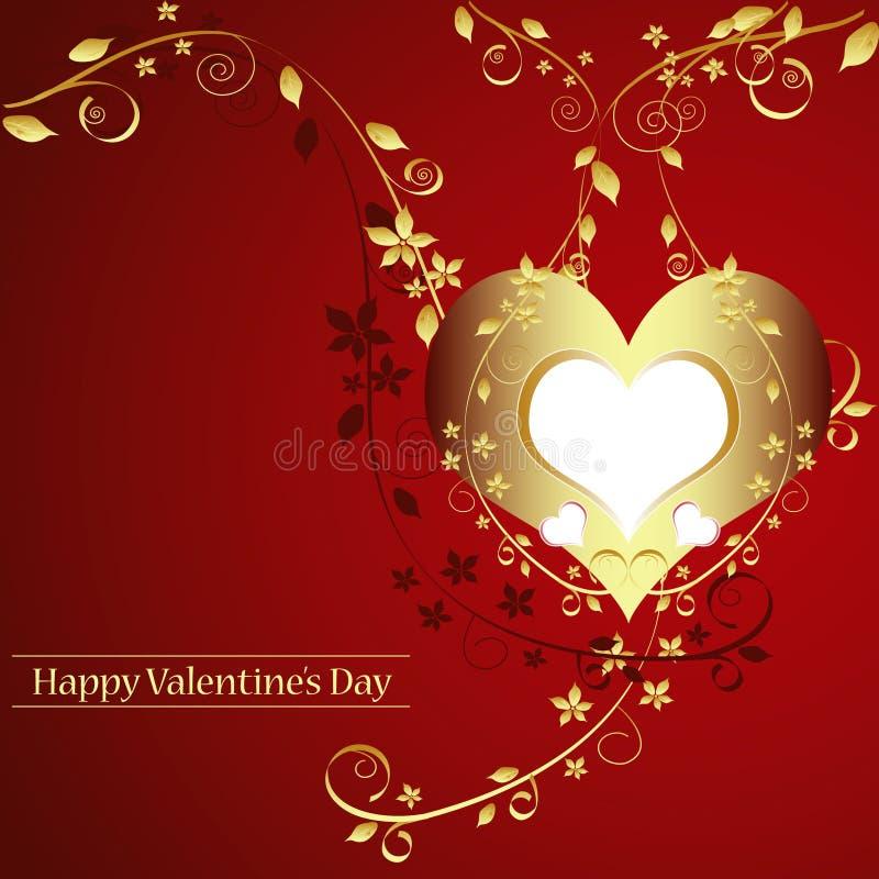 La carte d'or de Valentine.   illustration stock
