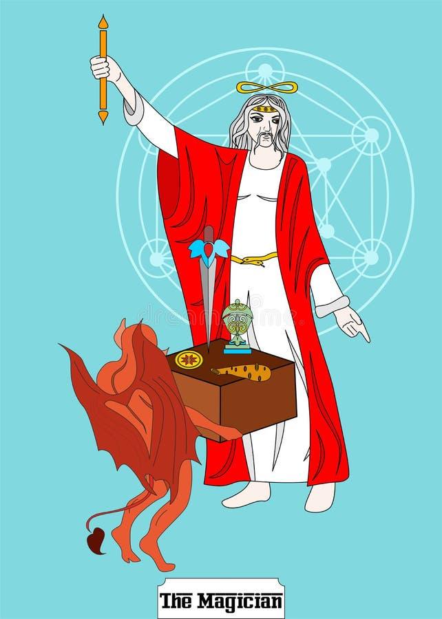 La carte d'homme de magicien est carte magique pour le taro avec l'homme illustration libre de droits