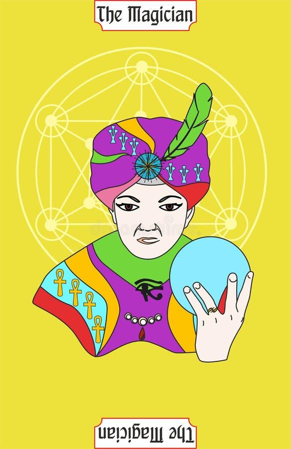La carte d'homme de magicien est carte magique pour le taro avec l'homme 6 illustration libre de droits