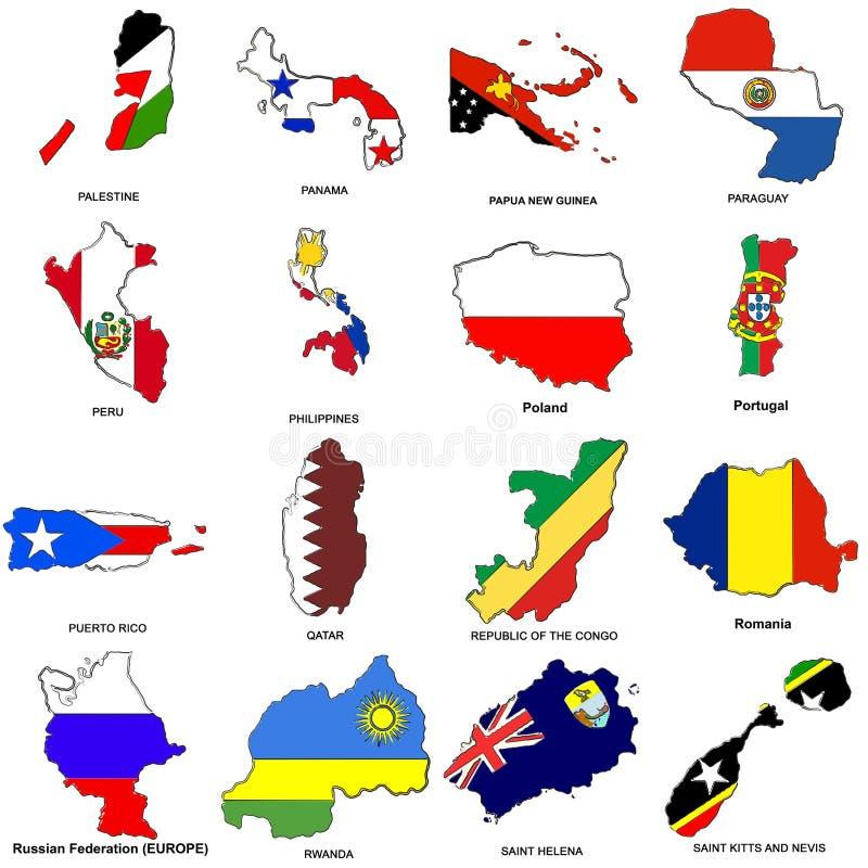 La carte d'indicateur du monde esquisse le ramassage 10 illustration de vecteur