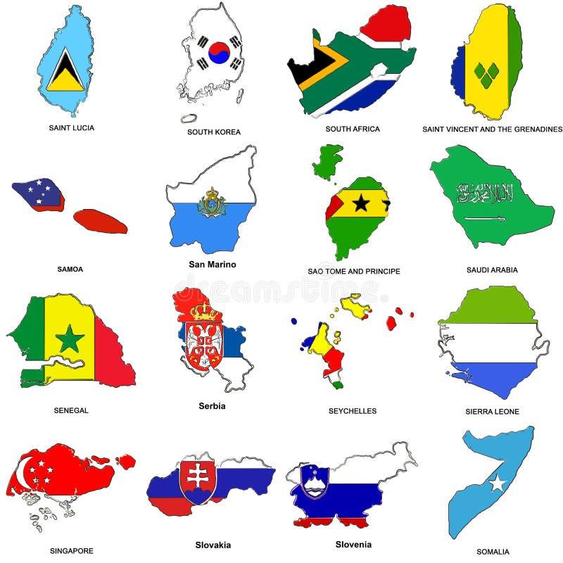 La carte d'indicateur du monde esquisse le ramassage 11 illustration de vecteur