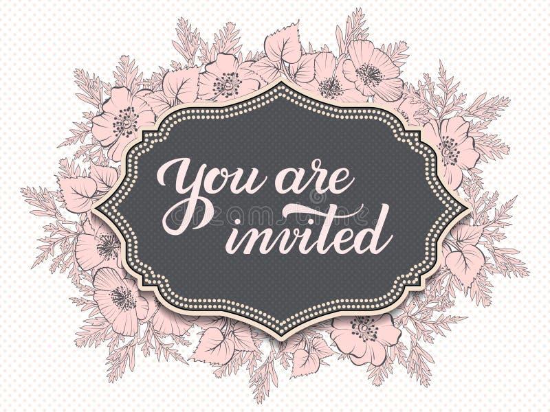 La carte d'invitation et d'annonce de mariage avec le cadre et vous floraux sont texte invité Frontière fleurie élégante avec illustration stock
