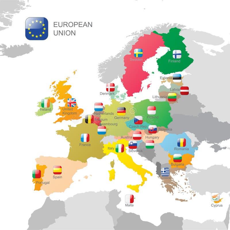 La carte d'Union européenne illustration stock