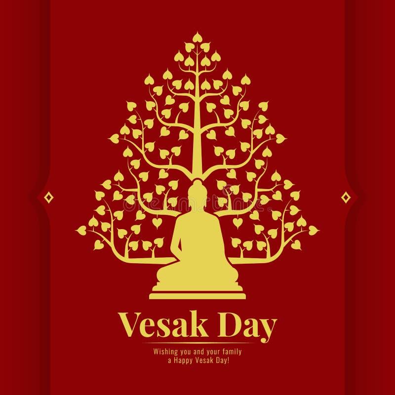 La carte de bannière de jour de Vesak avec de l'or jaune Bouddha et l'arbre de Bodhi se connectent la conception rouge de vecteur illustration libre de droits