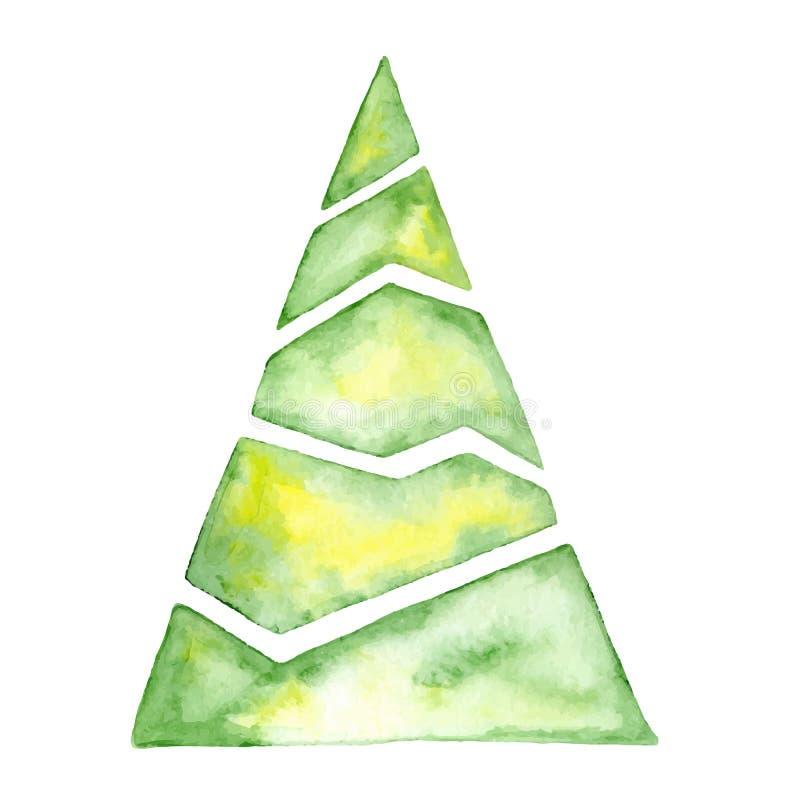 La carte de bonne année d'arbre d'aquarelle de Joyeux Noël, affiches dirigent l'illustration photo libre de droits