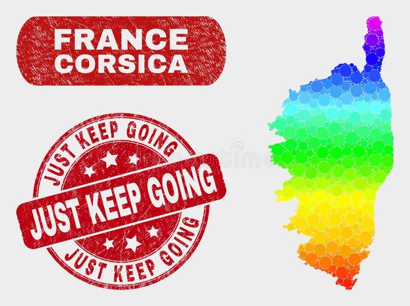 La carte de la Corse de mosaïque de spectre et rayé juste gardent le joint allant de timbre illustration de vecteur