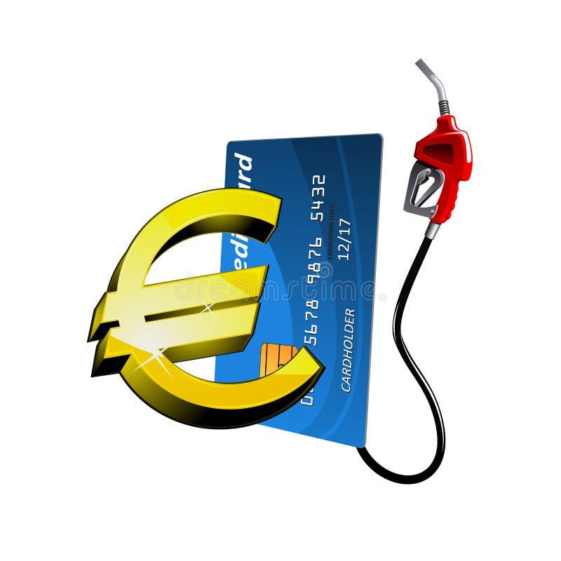 La carte de crédit avec le bec d'essence et l'euro signent illustration libre de droits