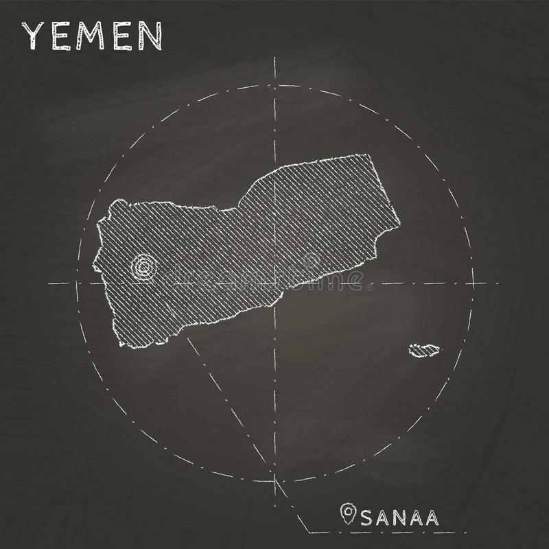 La carte de craie du Yémen avec le capital a marqué tiré par la main dessus illustration stock