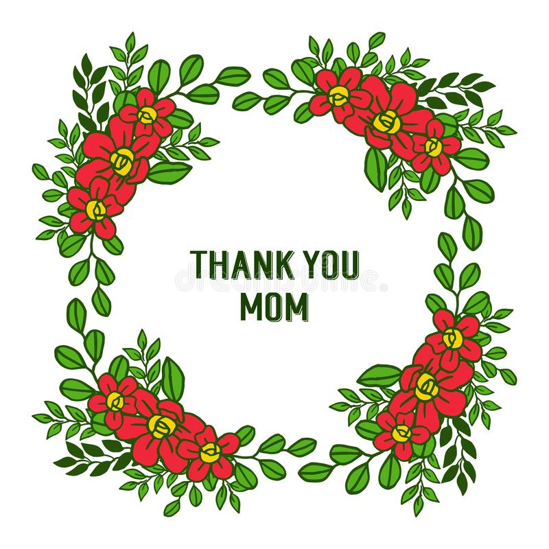 La carte de forme d'illustration de vecteur vous remercient maman avec les cadres oranges fleuris de fleur illustration de vecteur