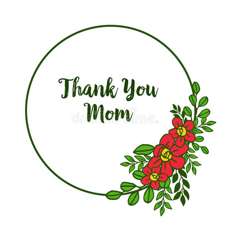 La carte de forme d'illustration de vecteur vous remercient maman avec les cadres oranges fleuris de fleur illustration stock