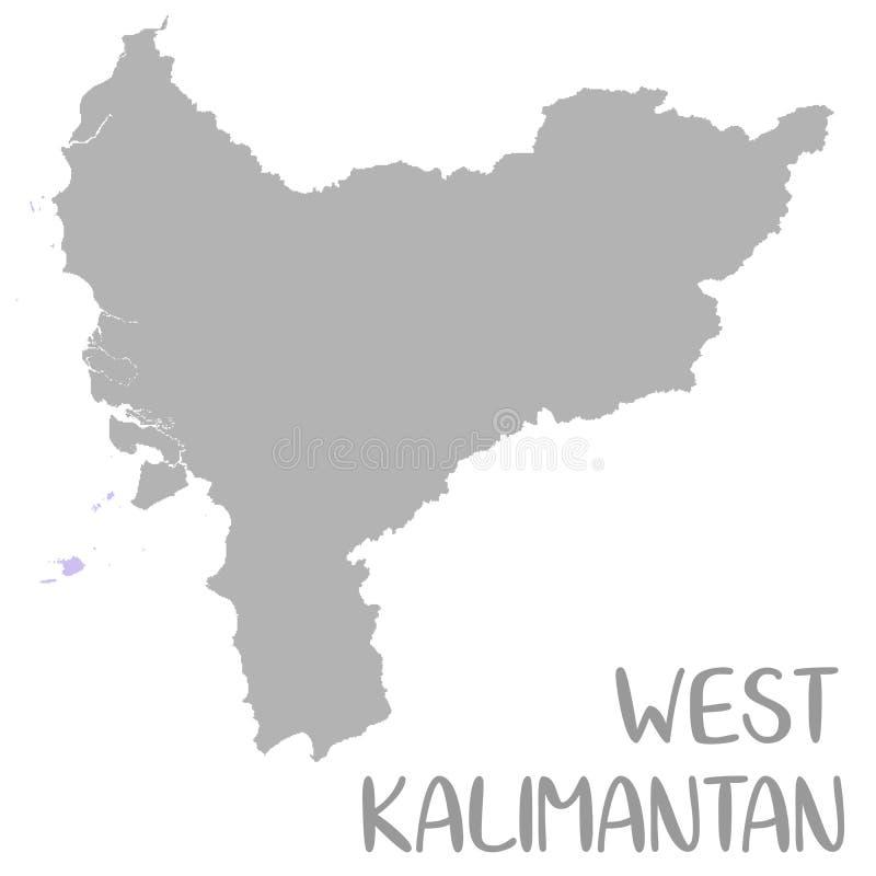 La carte de haute qualité de Kalimantan occidental est une province de l'Indonésie illustration de vecteur