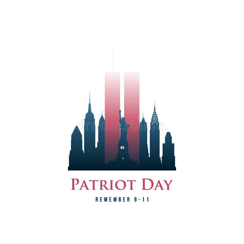 La carte de jour de patriote avec Tours jumelles et l'expression se rappellent 9-11 illustration stock