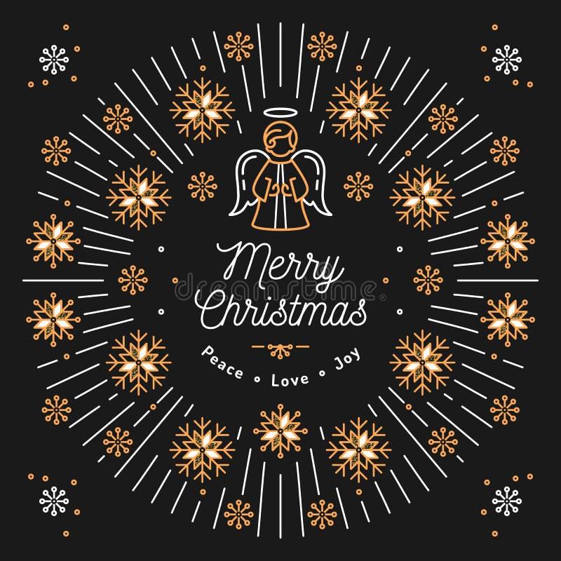 La carte de Joyeux Noël, affiche religieuse de Noël, flocons de neige, éclatement à la mode rayonne illustration stock