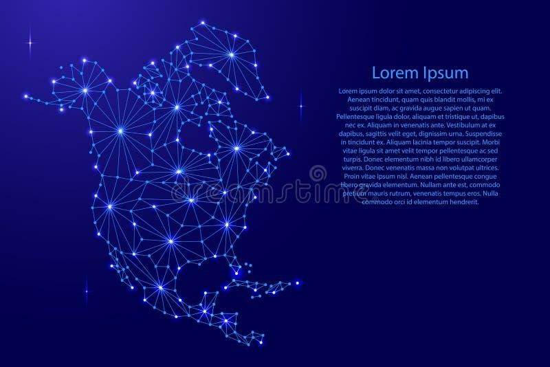 La carte de l'Amérique du Nord de la mosaïque futuriste polygonale raye le réseau, illustration de vecteur