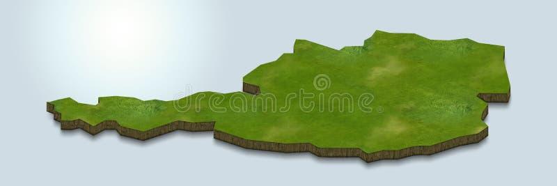 La carte de l'Autriche est verte sur un fond 3d bleu illustration stock
