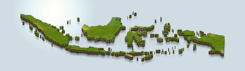 La carte de l'Indonésie est verte sur un fond 3d bleu illustration stock