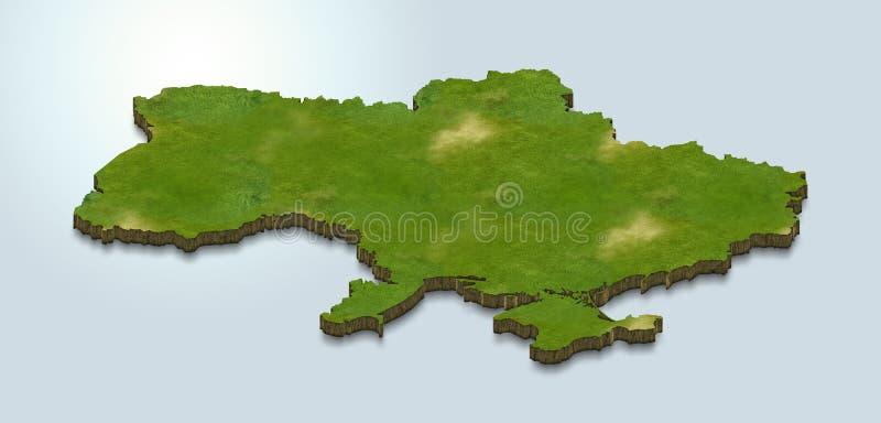 La carte de l'Ukraine est verte sur un fond 3d bleu illustration stock