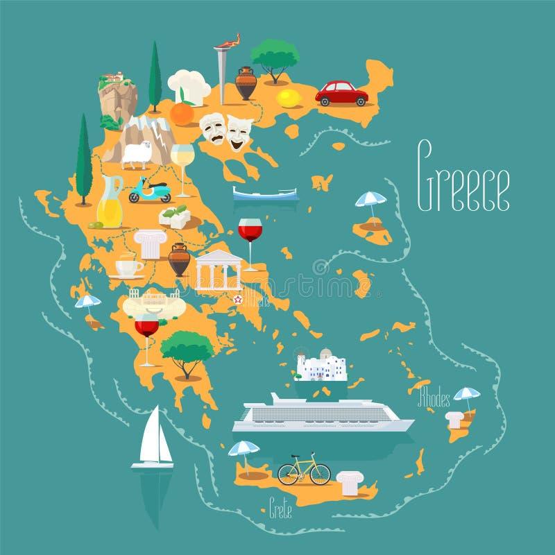 La carte de la Grèce avec des îles dirigent l'illustration, conception illustration stock
